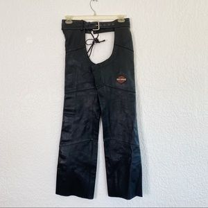HARLEY DAVIDSON Black Leather Riding Chaps. Small